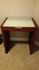 Table / desk with frosted glass top and drawer