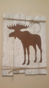 Handmade reclaimed wood white moose