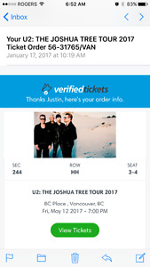U2 tickets with Mumford and Sons opening  sec 244 may12,500 ea.