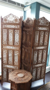 Hand Carved Divider-Screen and Side Table (set) - Indonesian