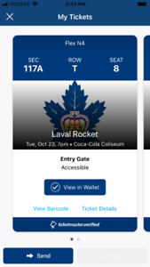 Two Tickets tonight Marlies vs Laval Rockets Oct 23 7pm