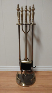 Brass Fireplace Stand and Tools
