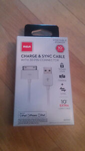 NEW in pkg - RCA Charge & Sync cable 30 pin Iphone conn. to USB