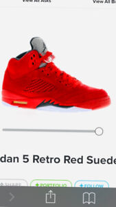 082cb2bbe2a8 Air Jordan 5 s red suede.