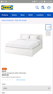 Ikea Malm Queen pull up storage bed frame, like new