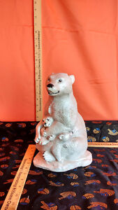 Vintage Handcrafted Ceramic  Bear with Cubs