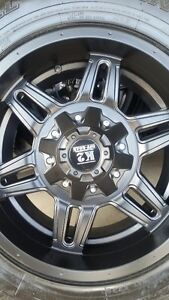 4 NEW K2 BLACK RIMS WITH NEW NITTO TERRA GRAPPLER 265/70/17