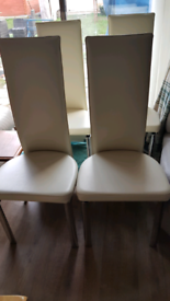 Leather dining chairs x4