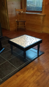 Solid Wood Stool w/Tile Top