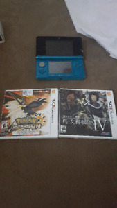 3DS for sale. Includes 3 games.