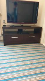 TV Stand 2 Drawers Dark Walnut Wood