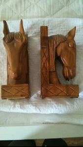 Solid Teak Horse Head Book Ends