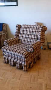 Brown- orange plaid couch chair
