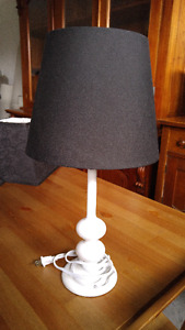 Small white lamp with black shade