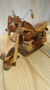 Hand crafted wooden Harley Davidson motor bike