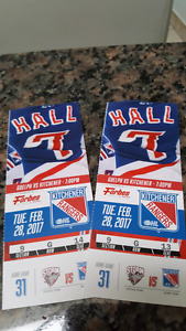 Rangers tickets for this Tuesday