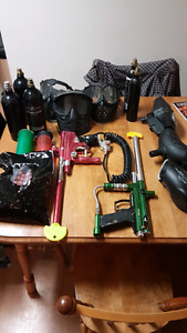 Paintball lot, 2 markers, masks, tanks etc