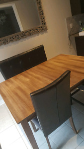 Real Wood Table with 6 chairs.