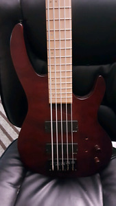 5 string Bass w/ maple fret board and upgraded emg pickups