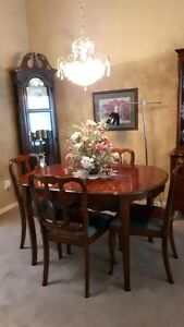 Cherry Wood China Cabinet and Dining Set