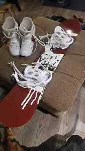 Womans snowboard boots and bindings.