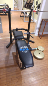 Workout bench and weights for sale