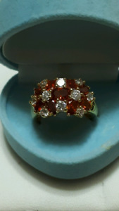 Gorgeous garnet and diamond like zircon ring gold plated