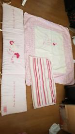 Baby girls cot bed set