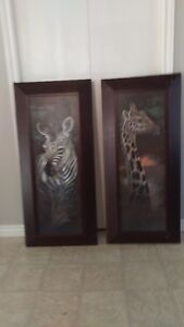 Two Large Wildlife Prints in a Wide Frame ART