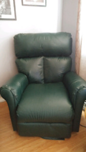 Green Real leather recliner !