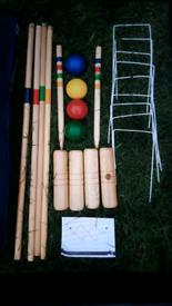 Wooden garden croquet game set in carry bag