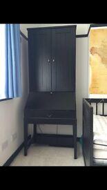 IKEA black office bureau with matching storage bench