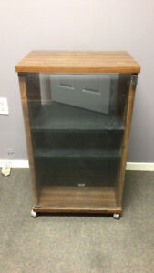 Rolling Stereo Cabinet with Glass Door