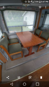 RV Wooden Dining Table with extension & 4 Chairs