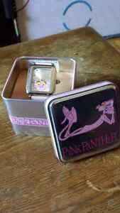 Pink Panther watch in tin can (needs battery)