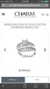 PRINCESSA 1.00CTW white gold bridal set.