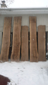 Rough cut lumber. Slab wood
