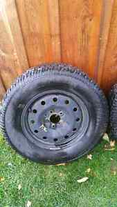 2 used snow tires on rims
