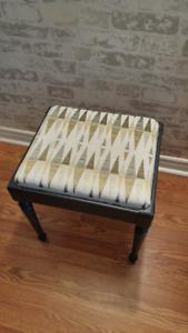 Repurposed vintage black end table/small bench