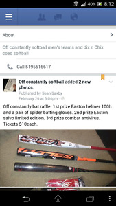 Softball bat raffle