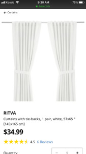 Beautiful white curtains x4 with ties - RITVA IKEA