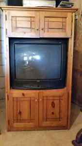 TV and Pine Hutch