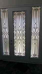 Wrought iron and stain glass inserts