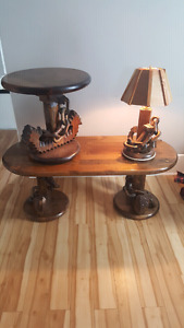 Coffee + end table and lamp manufactured by Maine state prisoner