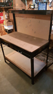 Metal Workbench With Drawer And Pegboard