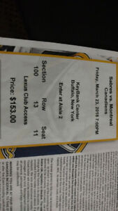 Sabres vs. Canadiens Section 100 Tickets and Lexus Club Access