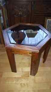 Beautiful solid wood hexagonal end table with glass top