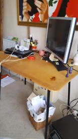 Industrial style wooden metal table and 2 chairs nw101hr
