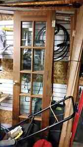 Wood french doors with trim