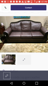 High end Canadian custom made leather couch set
